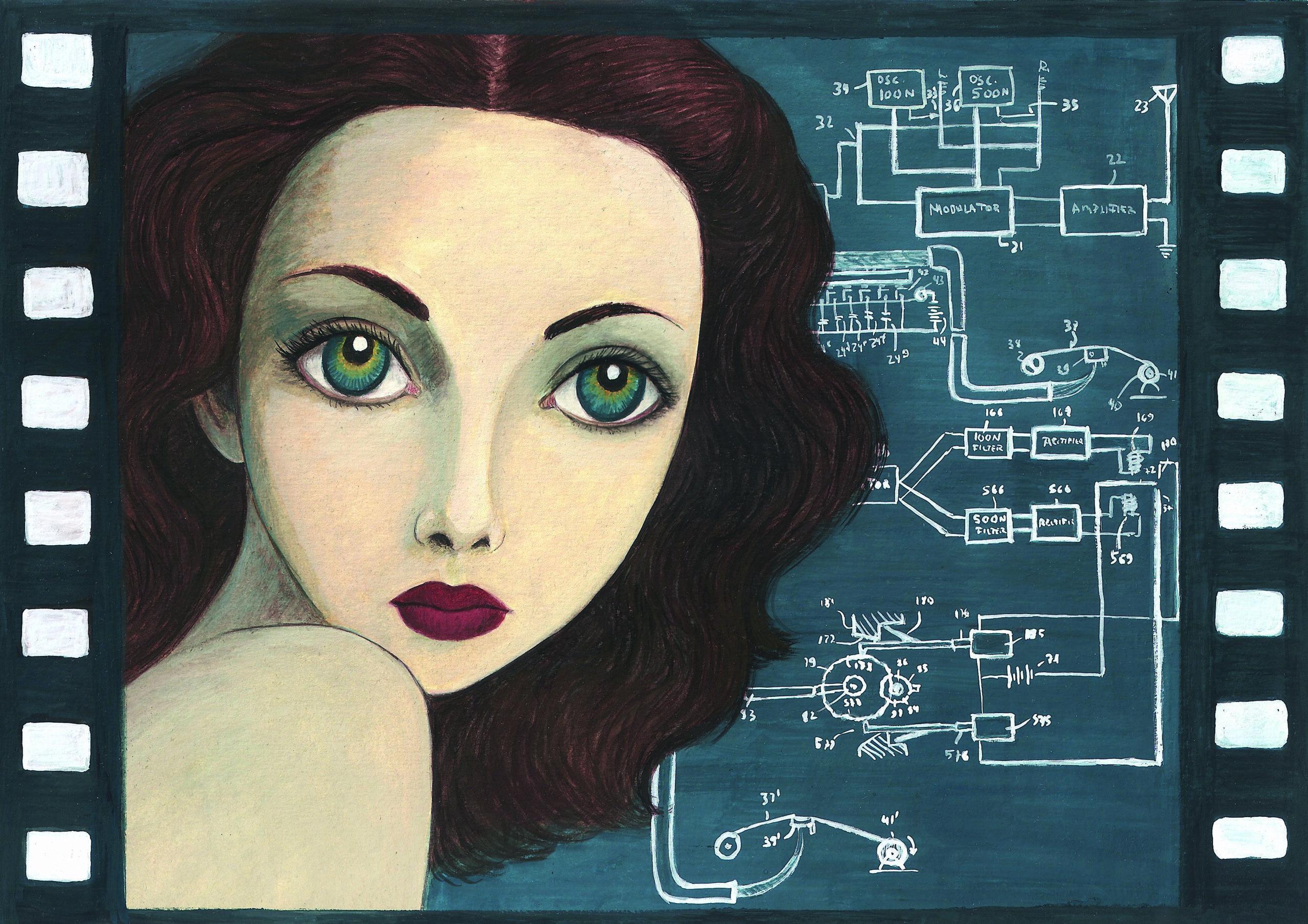 Ilustración de Hedy Lamarr, cortesía de Isabel Ruiz Ruiz, publicada en el libro Mujeres, nº 2